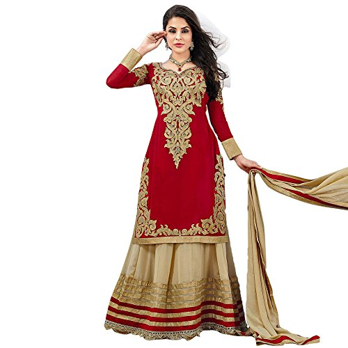Red Angelnx Women's Unstitched Anarkali Suit (Red Brown_Free Size) (Multicolor)