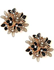 JAZZ CZ Flower Design A D Stone Black Color Earring For Women