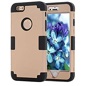 iPhone 6S Case, Sophia Shop 3 piece Hybrid Hard PC+ Soft Silicone [Heavy Duty][Shock Absorbing] Protective Cover For Apple iPhone 6 / 6S 4.7 inch(Gold+Black)