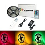 ALED LIGHT Striscia LED Impermeabile, 5050 SMD 300 LED RGB 5M Multicolore Strisce Flessibile Light, Telecomando a 44 Tasti + Adattatore di Alimentazione 12V 5A