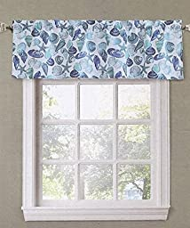 Top of the Window Scalloped Beachcomber Seashells Window Valance, 54-Inch x 17-Inch (Blue)