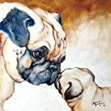 Westland Giftware Marcia Baldwin Canvas Wall Art, 15 by 15-Inch, Two Pugs