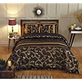 Stoa Paris STPBC1014 Festive Collection Silk Double Bed Cover Set - Brown And Gold
