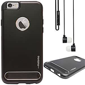 DMG Motomo Ultra Tough Metal Shell Case with Side TPU Protection for Apple iPhone 6 Plus (Black) + Black Stereo Earphone with Mic and Volume Control