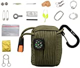The Friendly Swede Survival-Pod - Survival-Kit inklusive Drahtsäge, Rettungsdecke und Paracord (Armee Grün)