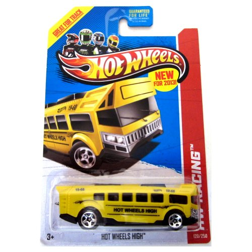 Hot Wheels New For 2013 HW Racing Hot Wheels High Bus Yellow #120/250