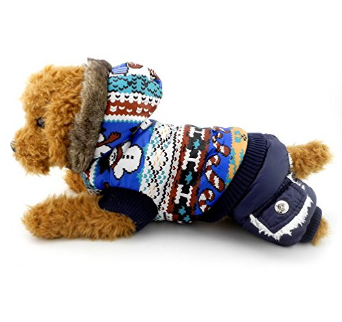 SELMAI Small Dog Christmas Outfits Winter Coat Pattern Puppy Hoodies Dog Jumpsuit Snowman Pet Clothes Blue M (Yorkie Terrier Clothes compare prices)