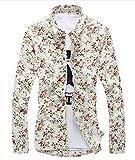 (ベクー)Bekoo メンズ 花柄 長袖 シャツ キレイメ カジュアル ジャケット スーツ の インナー サイズ ML XL XXL XXXL カラー ライトイエロー (01 ライトイエロー L)