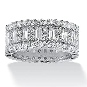 PalmBeach Jewelry 4.80 TCW Emerald-Cut CZ Platinum Over Sterling Silver Eternity Band Ring