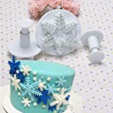 Outop Fondant Cake Cutter Mold Decorating Plunger Sugarcraft Snowflake Cutter Tools Set Pack of 3pcs