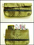 Clutches - Rich Green printed small clutch::Make up pruse