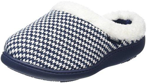 isotoner-damen-knitted-swept-back-with-fur-cuff-flache-hausschuhe-blau-marineblau-405-eu