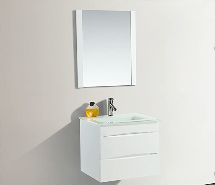 Mobile da Bagno Sospeso Con Specchiera 70x48cm in PVC Vorich Easy Bianco