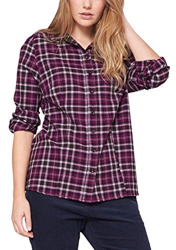Triangle by s.Oliver Damen Regular Fit Bluse 18.409.11.2752, Gr. 42, Violett (winter orchid check 47N1)