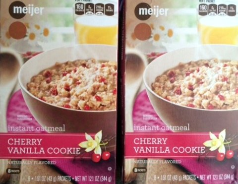 2 Boxes Meijer Cherry Vanilla Cookie Instant Oatmeal Total 16 Packets