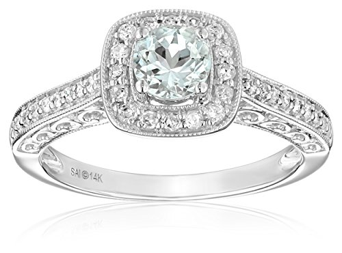 14k White Gold Aquamarine and Diamond Ring (1/4 cttw, H-I Color, I2-I3 Clarity), Size 7