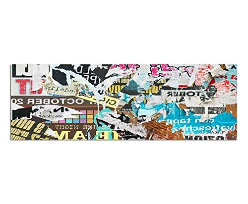 Bilder Wand Bild - Kunstdruck 120x40cm Poster Plakat zerrissen geklebt Schrift