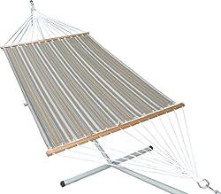 Hangit 13'FT Olefin Fabric Hammock Swing for Garden - Brown stripe