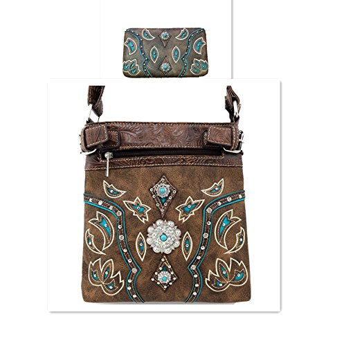 2015 Western Brown Turquoise Trimmed Leather Rhinestone Concho Stud Messenger Handbag w/ Adjustable Strap