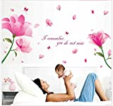 Oren Empower Large Pretty Pink Flowers PVC Vinyl Large Wall Sticker