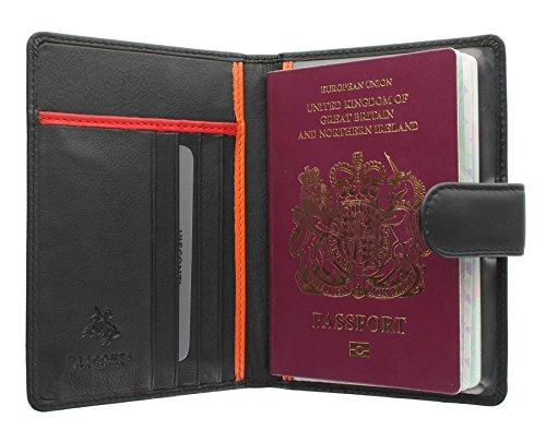 Viscontti collezione Bond ODDJOB. Porta passaporto di pelle con chiusura a pressione BD15 Nero/Arancione/Rosso