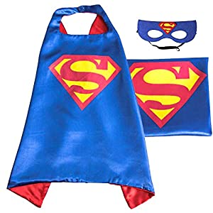 (Superman (blue)) ROXX Superhero Kids Girl Boy Cape and Mask Costume for Child