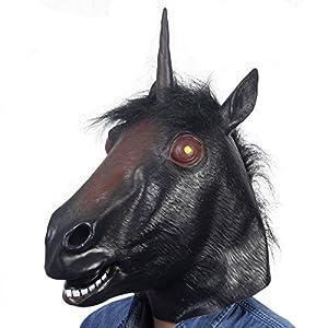 Amazon.com: Super buy Black Evil Unicorn Head Mask Latex ... Unicorn Head Mask Amazon