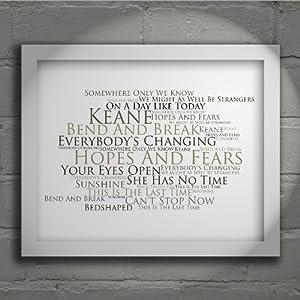 Keane  Hopes and Fears  Firmato e numerato Edizione limitata tipografia muro arte Stampa Testo della canzone poster   recensioni dei clienti Valutazione