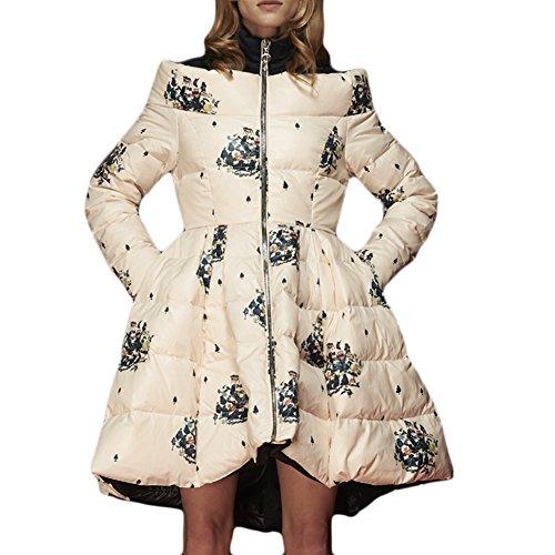 Mcitymall77 Floreale Invernale Calda Cappotti Donna Piumino inverno cappotto caldo Spesso Giubbino Imbottito L