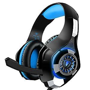 Beexcellent GM-1 ゲーム用 軽量 ヘッドホン ゲーミングヘッドセット PS4 PC スマホ等に対応 重低音 騒音隔離機能付き (ブルー)