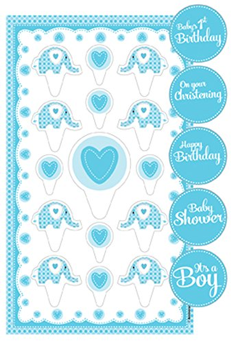 Sweet Baby Elephant Cake Topper Kit With Stickers - Blue front-559478