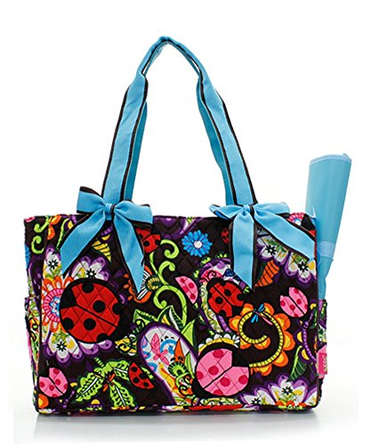 Quilted Turquoise Butterfly Garden/Outdoor Theme Print Monogrammable 2 Piece Diaper Bag With Changing Pad Tote Bag