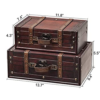 SLPR Decorative Suitcase with Straps (Set of 2, Brown)   Old-Fashioned Antique Vintage Style Nesting Trunks for Shelf Home Decor Birthday Parties Wedding Decoration Displays Crafts Photoshoots