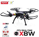 Cheerwing® Syma X8W FPV Real-time 2.4Ghz 4ch 6 Axis Gyro Headless Large RC Quadcopter Drone with HD Camera RTF (Black)