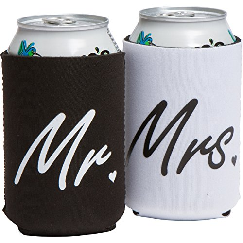 Wedding Gifts or Engagement Gifts or Anniversary Gifts – Mr. and Mrs. Can Coolers – Beverage Insulator Gift Set