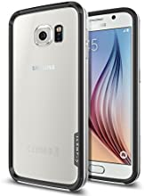 Galaxy S6 Case, Spigen® [PREMIUM BUMPER] Galaxy S6 Case Bumper **NEW** [Neo Hybrid EX] [Satin Silver] Premium Bumper Case - [1 Back Protector Included] Hard Polycarbonate Frames Slim Dual Layer Protective Bumper Case for Galaxy S6 (2015) - Satin Silver (SGP11442)