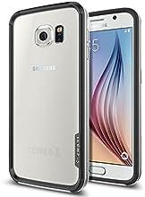 Galaxy S6 Case, Spigen® [PREMIUM BUMPER] Galaxy S6 Case Bumper **NEW** [Neo Hybrid EX] [Satin Silver] Premium Bumper Case - [1 Back Protector Included] Hard Polycarbonate Frames Slim Dual Layer Protective Bumper Case for Galaxy S6 (2015) - Satin Silver (SGP11442)