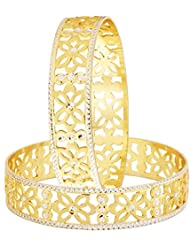The Jewelbox Filigree Flower Gold Plated Matte Rhodium Bangle Pair For Women