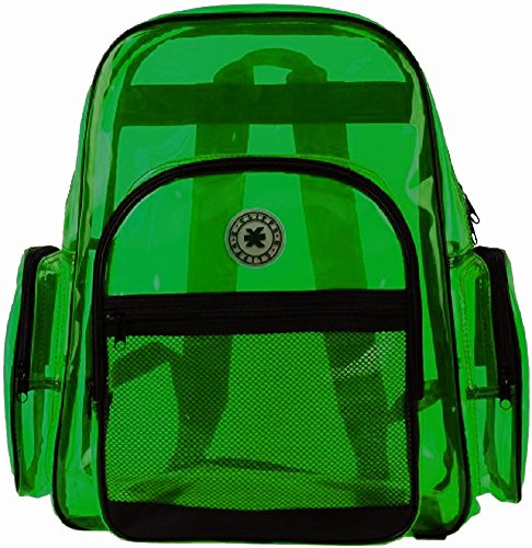 K-Cliffs Transparent Clear GREEN Backpack School Bag