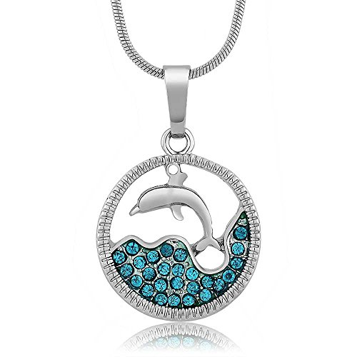Stunning Dolphin and Sea in a Circle with Blue Crystals Pendant 18