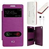 DMG Premium Diary Flip Book Cover Case For Lenovo K3/A6000+/A6000 (Purple) + 10000 MAh Power Bank