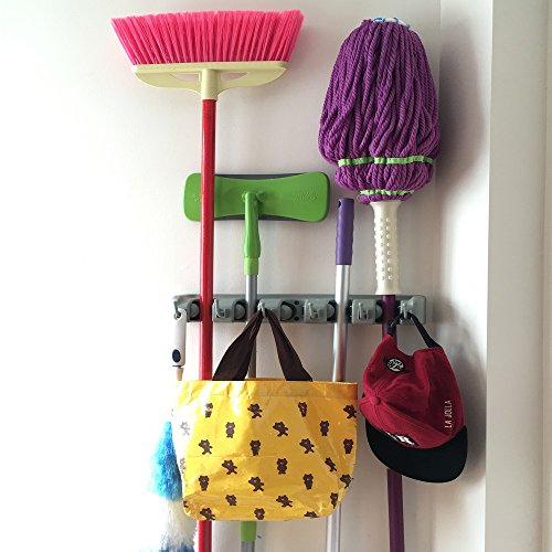 Champ Grip. The Revolutionary Mop Broom Holders with 5 Ball Slots and 6 Hooks. Items Guaranteed Non Slide. Life-time Guarantee. (Door Broom Holder compare prices)