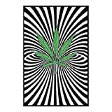 Pot Leaf Trippy Blacklight Poster Print - 24x36 custom fit with RichAndFramous Black 24 inch Poster Hangers