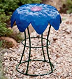 Weather-Resistant Powder-Coated Metal Flower Garden Stools, in Bluebell