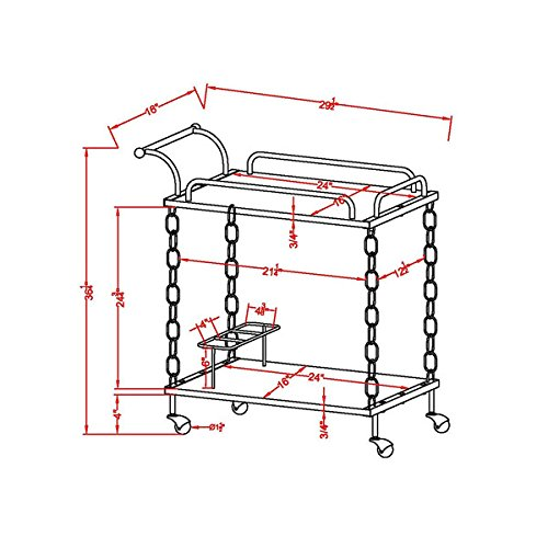 Furniture of America Porteno Industrial Chain Link Serving Cart 2