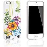 Tinxi Design Silikon Schutz H�lle f�r Apple iPhone 5S / 5 Schutzh�lle Silicon R�ck Schale Tasche Cover Case Etui gelbe Blume