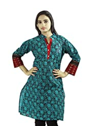 Fashion Freaks Dark Green Cotton Printed Round Neck Kurti