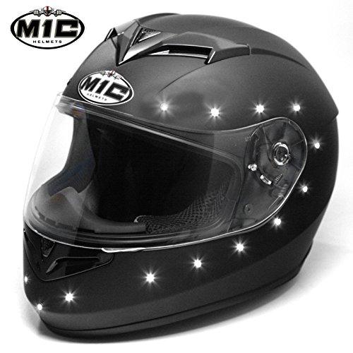 M1C Led Lights Matte Flat Black Solid Full Face Motorcycle Helmet Dot- Medium M