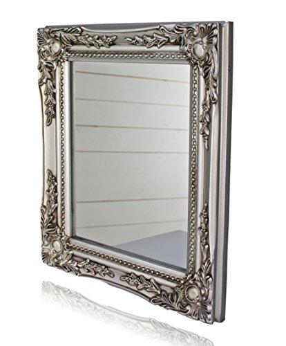 32x27x3cm-rechteckiger-Wand-Spiegel-handgefertigter-Vintage-Antik-Rahmen-aus-Holz-silber-inkl-Befestigung