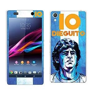Bluegape Sony Xperia Z2 Diego Maradona Football Player Mobile Skin Cover, Blue